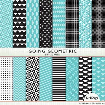 "Digital Paper - ""Going Geometric ""  Black White & Turquoise Blue"