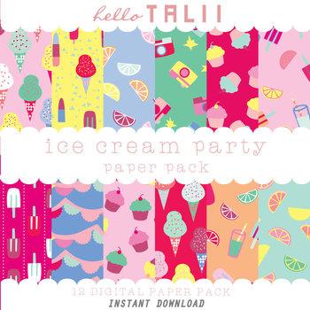Digital Paper: Ice Cream Party