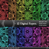 Digital Paper Jpg Lace  12 X 12 + 8.5 X 11 Page Flower Alb