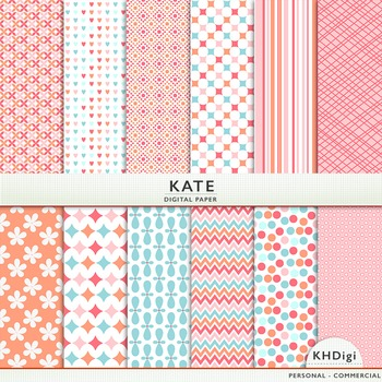 "Digital Paper - ""Kate"" - Soft Corals and Blue"