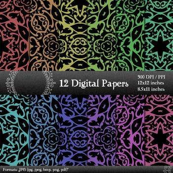 Digital Paper Kit Clipart Ornate Digital Seamless Vintage