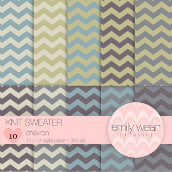 Knit Sweater - Digital Paper - Chevron Background