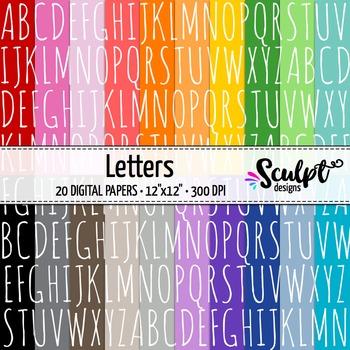 Digital Paper ~ Letters ~ Twenty Colors