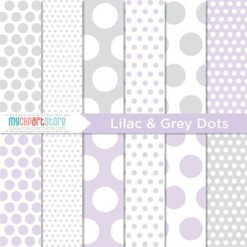Digital Paper - Lilac and Grey Polka Dots