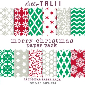 Digital Paper: Merry Christmas Paper Pack