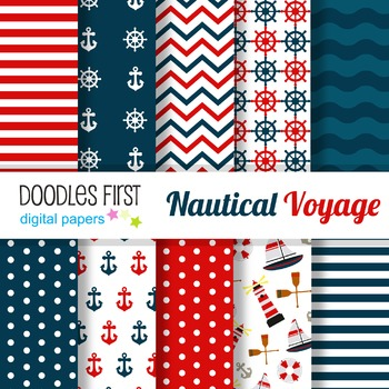 Digital Paper - Nautical great for Classroom art projects