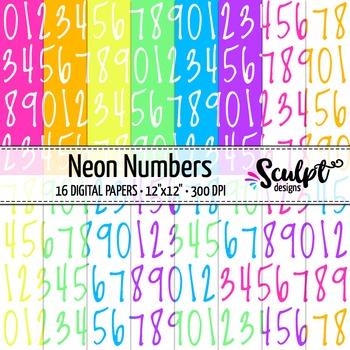 Digital Paper ~ Numbers ~ Neon Colors
