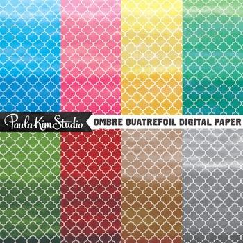 Digital Paper - Ombre Quatrefoil