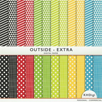 "Digital Paper - ""Outside Extra "" Yellow Blue Green Red"