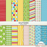 """Digital Paper - """"Outside"""" Yellow Blue Green Red"""
