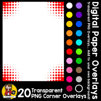 Digital Paper Overlays 9 - Page Corners 3 {Paper Overlays for CU}