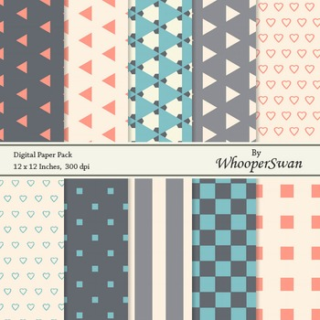 "Digital Paper Pack (12x12"", 300 dpi), Geometric"