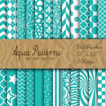 Digital Paper Pack - Aqua Pattern Designs - 24 Different P