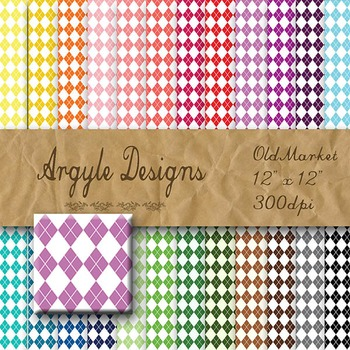 Digital Paper Pack - Argyle Designs - 24 Different Papers