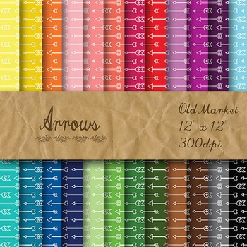 Digital Paper Pack - Arrows - 24 Different Papers - 12 x 12
