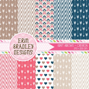 Digital Paper Pack - Arrows and Chevron Stripes
