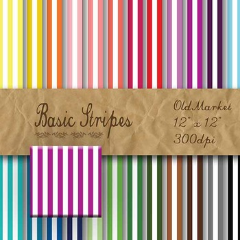 Digital Paper Pack - Basic Stripes - 24 Different Papers -