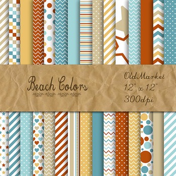 Digital Paper Pack - Beach Colors Collection - 30 Papers -