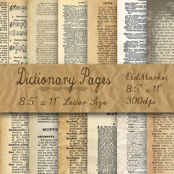 Digital Paper Pack - Blank Dictionary Pages - 12 Different