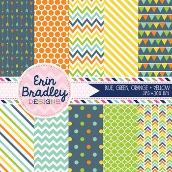 Digital Paper Pack - Blue Green Orange Yellow Printable Ba