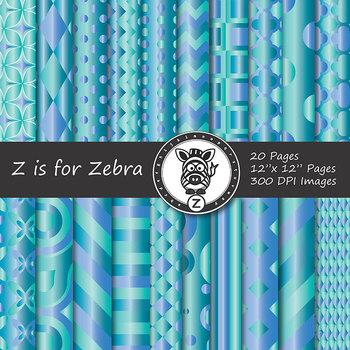 Digital Paper Pack Blue green gradient 1- CU ok { ZisforZebra}
