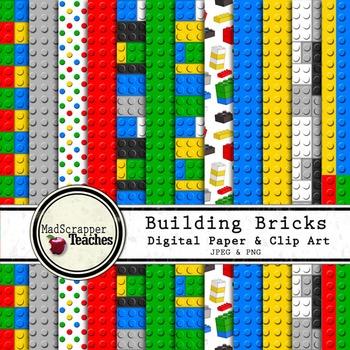 Digital Paper Pack Building Bricks Bold Colors Paper Backg