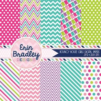 Digital Paper Pack - Bounce House Girls Printable Patterne