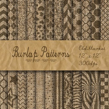 Digital Paper Pack - Burlap Patterned Textures - 24 Differ