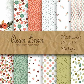 Digital Paper Pack - Clean Linen Flowers - 12 Different Pa