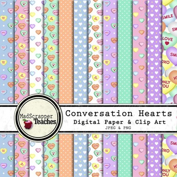 Digital Paper Pack Conversation Hearts Paper Background an