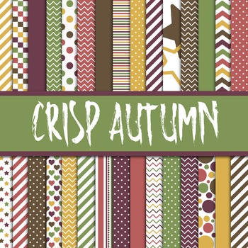 Digital Paper Pack - Crisp Autumn Colors Collection - 30 P