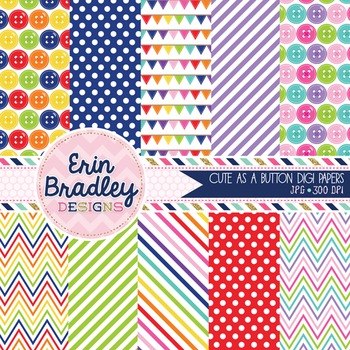 Digital Paper Pack Cute as a Button Rainbow Patterned Back