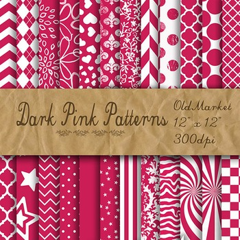 Digital Paper Pack - Dark Pink Pattern Designs - 24 Differ