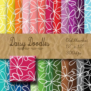 Digital Paper Pack - Doodle Daisies - 24 Different Papers