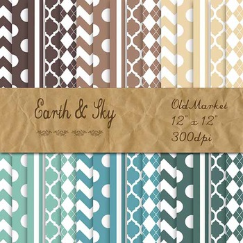 Digital Paper Pack - Earth and Sky - Blues and Browns - 30