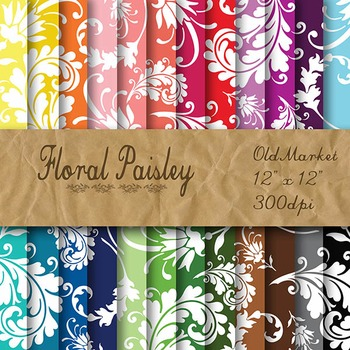 Digital Paper Pack - Floral Paisley - 24 Different Papers