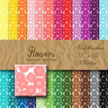 Digital Paper Pack - Flowers - 24 Different Papers - 12 x 12