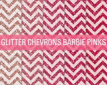 Digital Papers - Glitter Chevron Patterns Barbie Pinks
