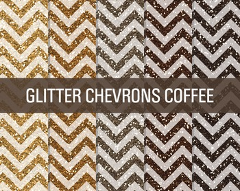 Digital Papers - Glitter Chevron Patterns Coffee