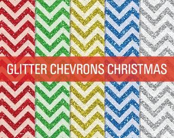 Digital Papers - Glitter Chevron Patterns Christmas