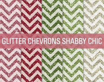 Digital Papers - Glitter Chevron Patterns Shabby Chic