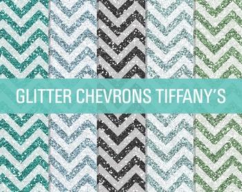 Digital Papers - Glitter Chevron Patterns Tiffany's
