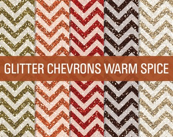 Digital Papers - Glitter Chevron Patterns Warm Spice