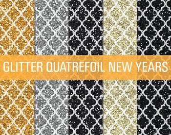 Digital Papers - Glitter Quatrefoil Patterns New Year's