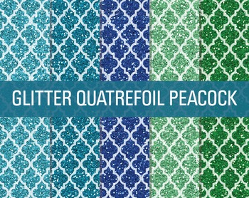Digital Papers - Glitter Quatrefoil Patterns Peacock