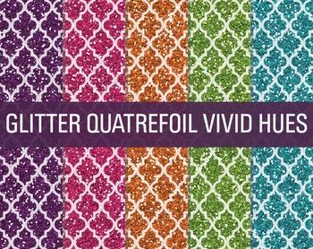 Digital Papers - Glitter Quatrefoil Patterns Vivid Hues