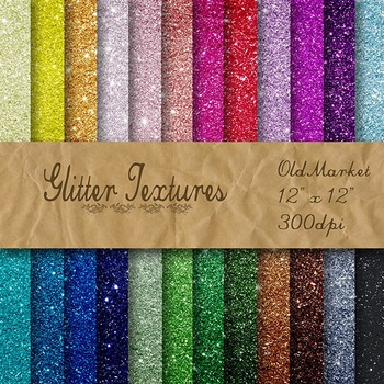 Digital Paper Pack - Glitter Textures - 24 Different Paper