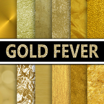 Digital Paper Pack - Gold Textures - 12 Different Papers -