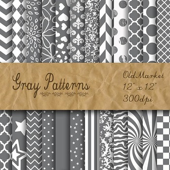 Digital Paper Pack - Gray Pattern Designs - 24 Different P