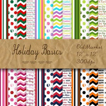 Digital Paper Pack - Holiday Basics - 24 Different Papers